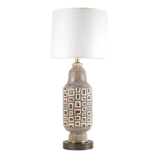 Mid-Century Ceramic Squares Table Lamp