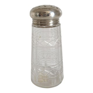 1910 Edwardian Sterling Silver & Cut Crystal English Salt Shaker