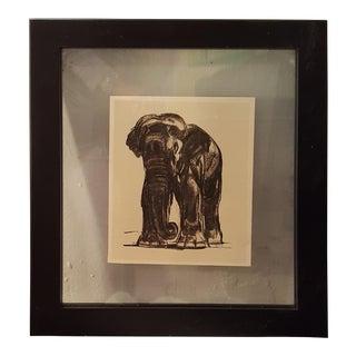 """Vintage Framed Sketch of An Elephant from the Book """"Peinture et Dessins de Paul Jouve"""""""