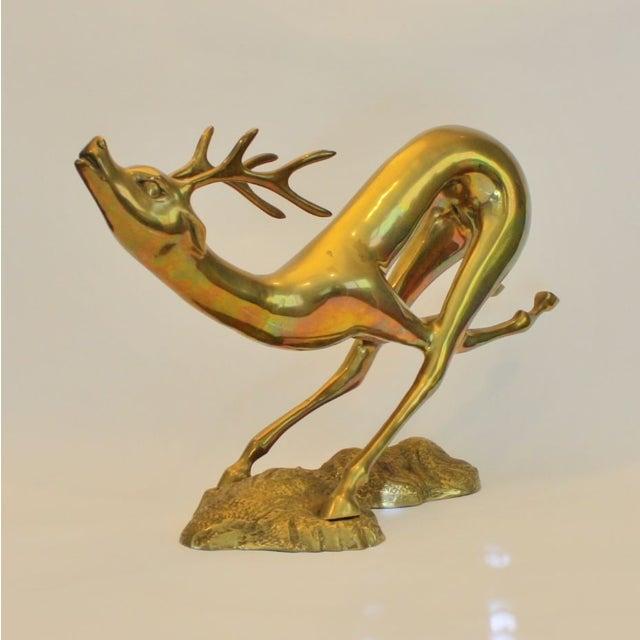 Vintage Large Brass Running Deer - Image 5 of 5