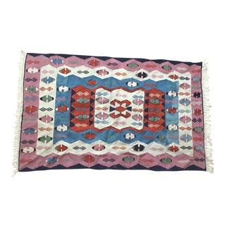 Vintage Moroccan Pastel Berber Kilim Wool Rug - 3′9″ × 6′