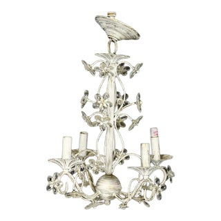 Distressed White Floral Chrystal Chandelier