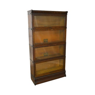 Globe Wernicke Antique Oak 4 Section Barrister Stacking Bookcase