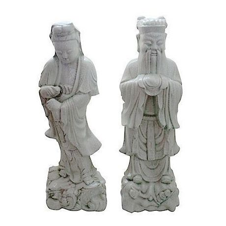 Image of Vintage Chinoiserie Celadon Statues - A Pair