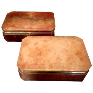 Italian Alabaster & Brass Trim Boxes - a Pair