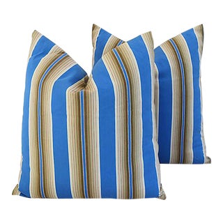 "22"" Custom Tailored Blue & Tan French Ticking Feather/Down Pillows - a Pair"