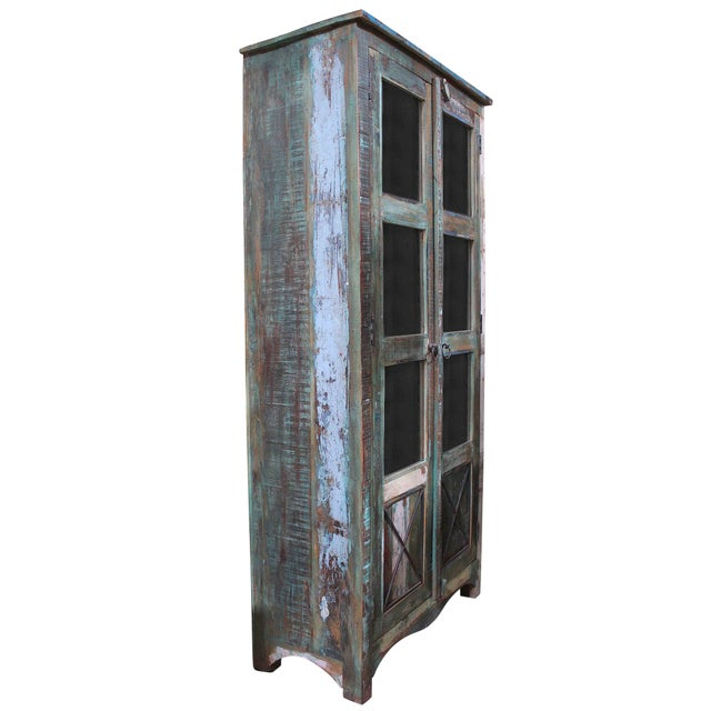 Tall Cactus Green Showcase Cabinet - Image 1 of 3