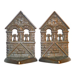 1928 Belfry Connecticut Foundry Cast Iron Bookends - A Pair