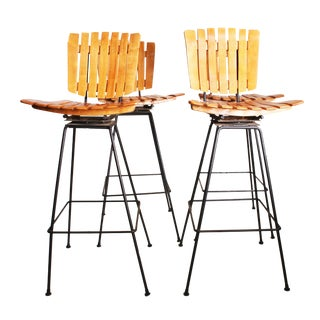 Mid Century Modern Arthur Umanoff Swivel Bar Stools - Set of 4