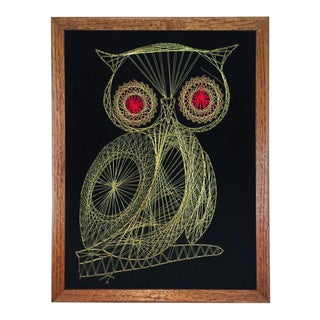 Framed Metallic Owl String Art