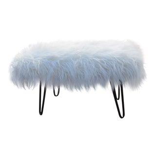 George Mulhauser Faux Fur & Hairpin Legs Footstool