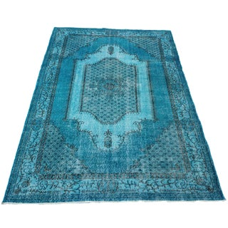 Turkish Over-Dyed Turquoise Rug - 5′5″ × 9′3″