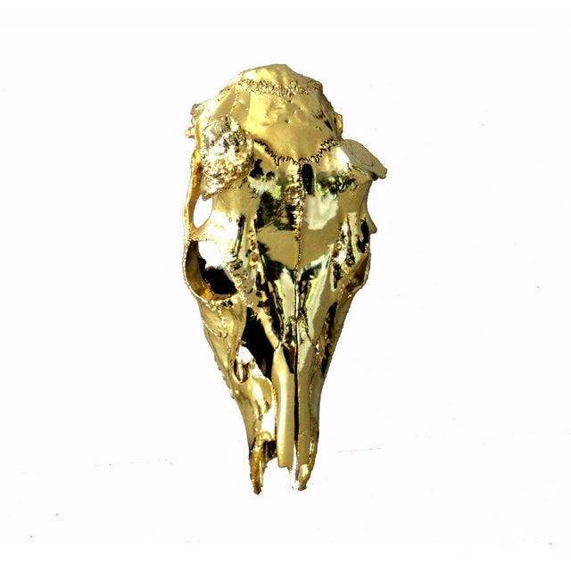 Brass Electroplated Deer Skull - Image 4 of 5
