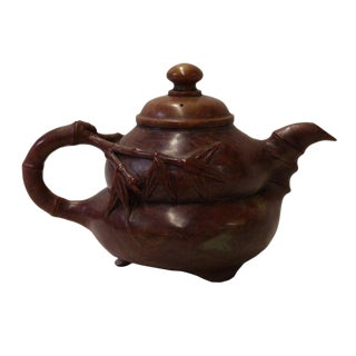 Chinese Brown Red Soap Stone Carved Teapot Display Art