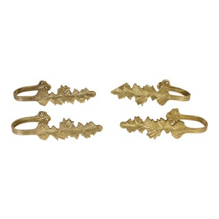Brass Leaf Drapery Curtain Tie Backs - Set of 4