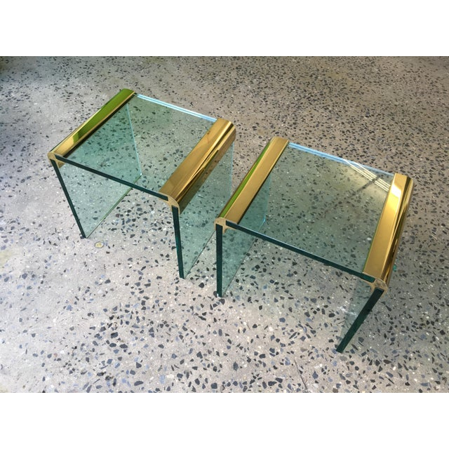 Pace Collection Brass & Glass End Tables- A Pair - Image 5 of 8