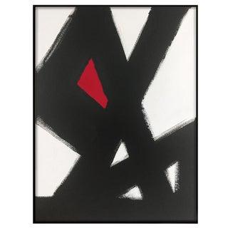 """Black & White Slash No. 2 Red"" Painting"