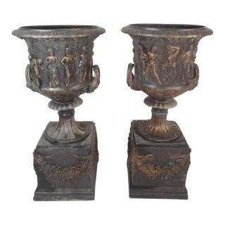 Medici Style Bronze Urns - A Pair