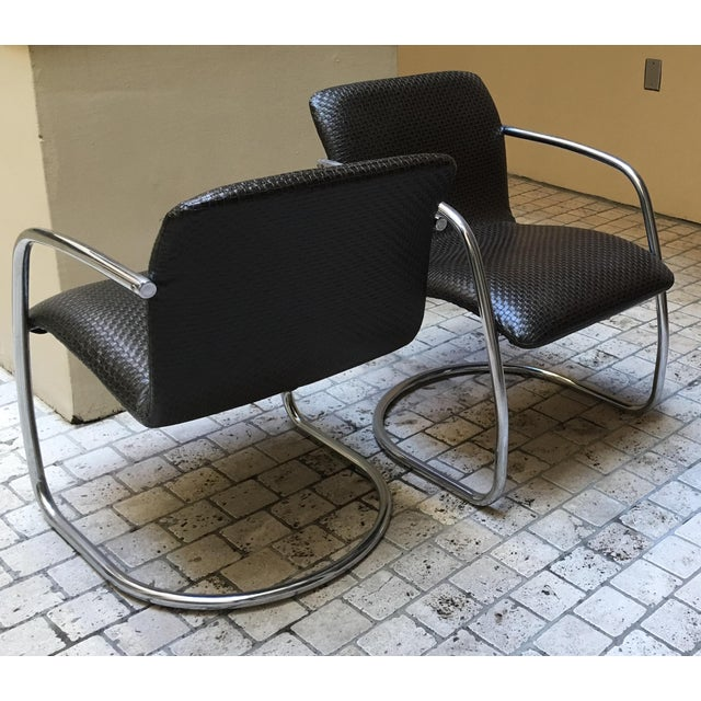 Mid Century Chrome Basket Weave Chair - Pair - Image 5 of 8