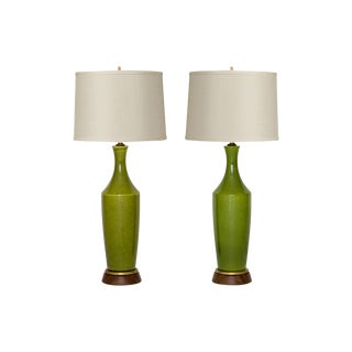 Mid-Century Green Lamps - A Pair
