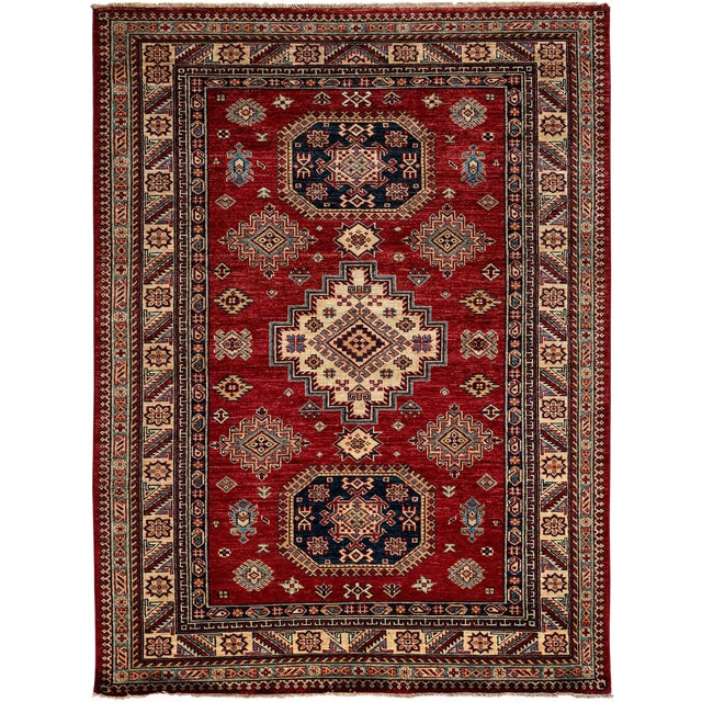 "Kazak Hand Knotted Area Rug - 5' X 6'10"" - Image 1 of 3"