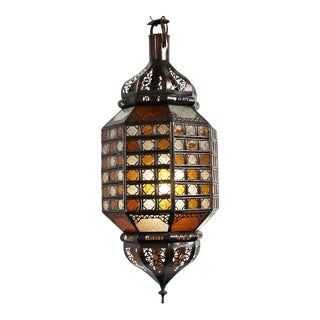 Amber & Frosted Glass Checker Lantern