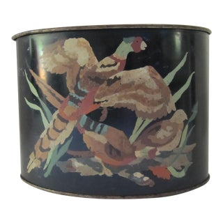Vintage Hand-painted Pheasant Tole Container