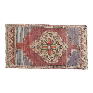 "Traditional Vintage Oushak Mat - 1'8"" x 2'11"""