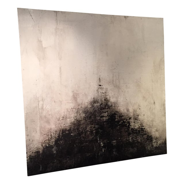 Image of Black And White Abstract Painting On Wood