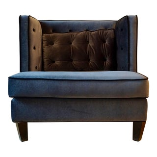 Gray-Blue Velvet Armchair