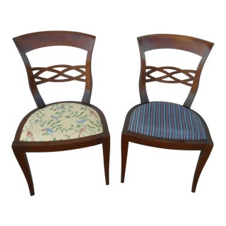 Vintage Baker Furniture Biedermeier Fruitwood Dining Chairs - A Pair