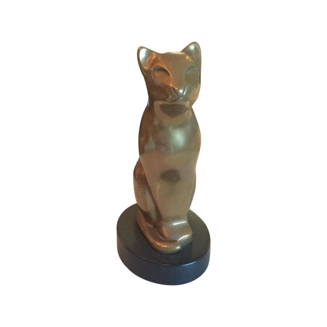 Image of Vintage Brass Cat Statue