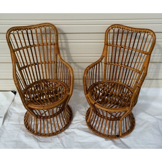 Boho Chic Rattan Chairs - A Pair - Image 4 of 9