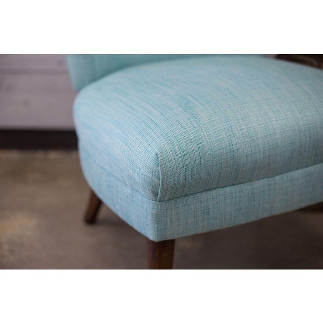 Aqua Tweed MCM Low Profile Slipper Chairs - Pair - Image 6 of 9