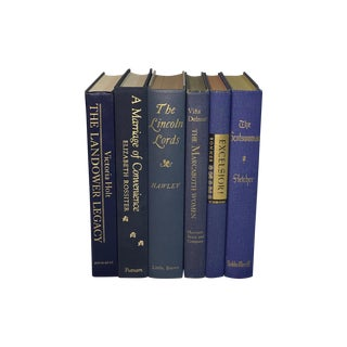 Vintage Books in Dark Blues - Set of 6