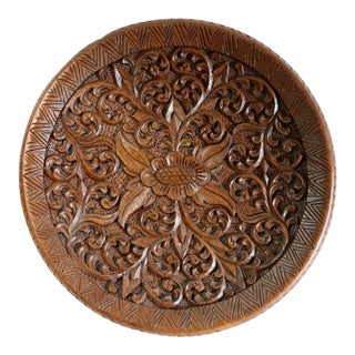 Wood Carved Floral Wall Plate