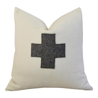 White & Gray Swiss Wool Applique Cross Feather/Down Pillow