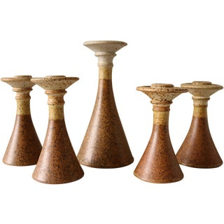 Studio Pottery Candlesticks - Set of 5