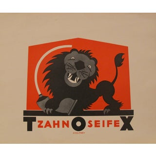 German Art Deco Lion Toothpaste Poster