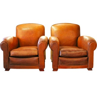 French Antique Leather Club Chairs - A Pair
