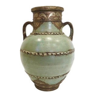 Moroccan Hand Made Patina Vase with Handles