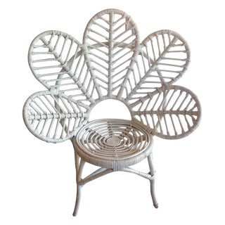 White Rattan Flower Patio Chair