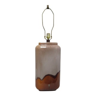 Vintage Mid Century Drip Glass Pottery Table Lamp