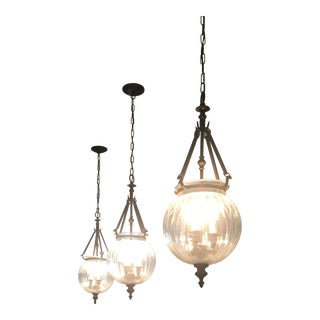 Clear Globe Pendants Lights - Set of 3