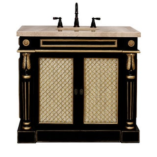 Classico Bath Vanity Cabinet in Black & Gold