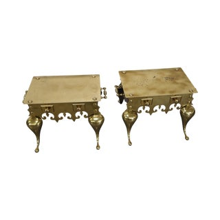 Brass Footman Low Tables - A Pair