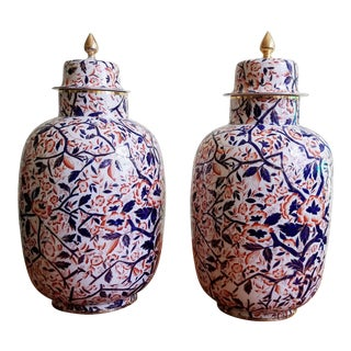 English Pottery Large Imari Vases & Covers,