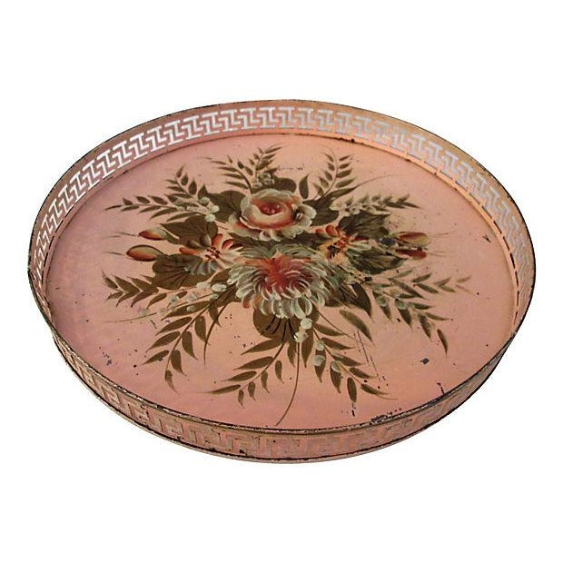 Vintage Tole Painted Pink Greek Key Tray - Image 3 of 7