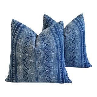"20"" Indigo Blue & White Hand Blocked Batik Feather/Down Pillows - a Pair"