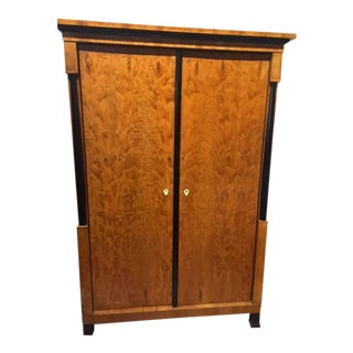 19th Century Biedermeier Satinwood and Ebony Swedish Armoire